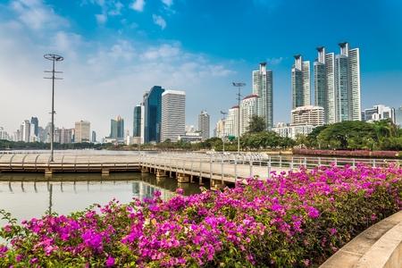 benjakitti: Benjakitti park Bangkok downtown city in evening, Thailand Stock Photo