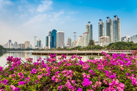 city light: Benjakitti park Bangkok downtown city in evening, Thailand Stock Photo
