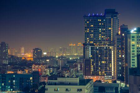 urbanscape: Bangkok downtown city at night, Thailand
