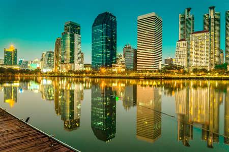 benjakitti: Benjakitti park Bangkok downtown city at night, Thailand