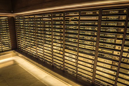 the facility: Mailboxes in condominium, Postal room building Facility Stock Photo