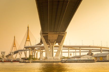 bhumibol: Bhumibol Bridge in evening, Bangkok Thailand  - Warm color tone