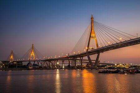 bhumibol: Bhumibol Bridge at evening twilight, Bangkok Thailand Stock Photo