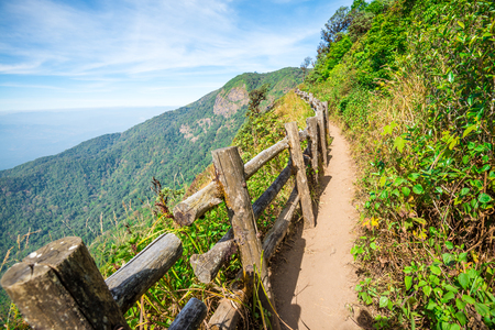 Beautiful mountain landscape with blue sky in northern Thailand - Green nature and travel business concept
