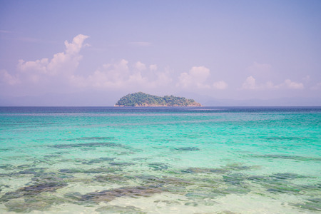 Crystal clear water of tropical island beach in sunny day - Summer breeze holiday
