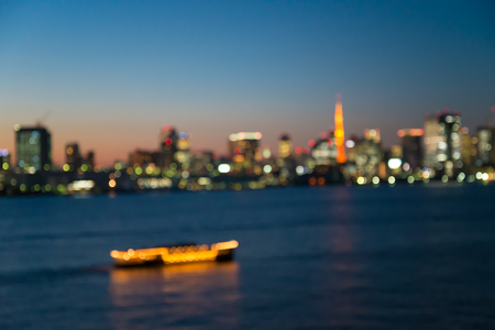 Defocused cityscape in twilight evening bokeh background, Tokyo Japan