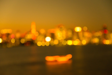 Defocused cityscape in twilight evening bokeh background, Tokyo Japan - Golden luxury style