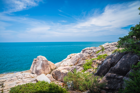 Tropical rock beach on Samui island, Thailand - Travel holiday concept