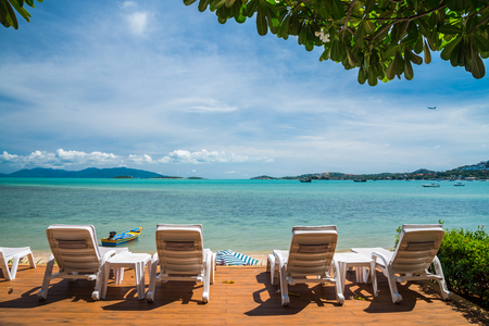 White daybeds on beautiful tropical Samui island, Thailand