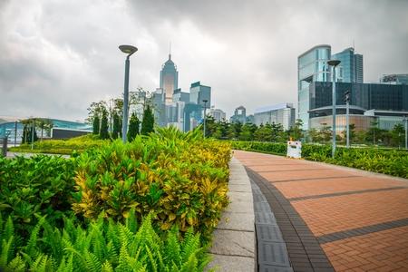 Seaside walkway in Hong Kong island before raining 免版税图像
