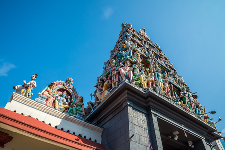 The Sri Mariamman Hindu Temple Chinatown in Singapore with blue sky Stock Photo