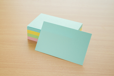 Blank color business cards on a desk