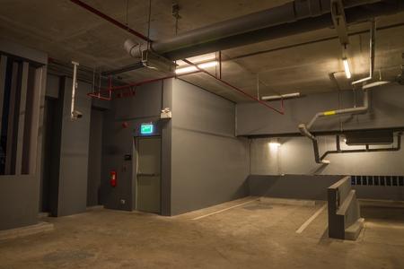 Parking Garage Interior Warm Lights In Dark Stock Photo   102153428