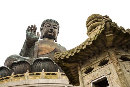 Big buddha landmark at Nong Ping, Hong Kong - Isolated white background