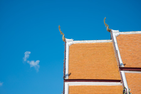 Roof detail of Thai buddhism temple architecture Thailand style
