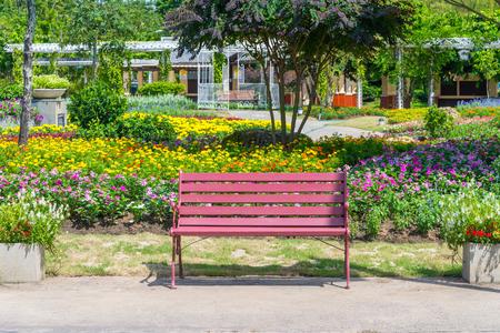 Red long chair in beautiful flower garden, Chiang mai Thailand