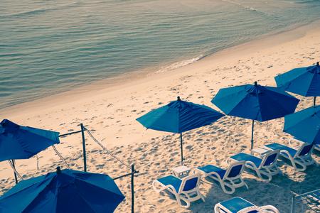 Beach chairs on beautiful tropical Samui island, Thailand