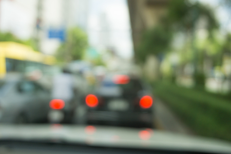 Abstract blur traffic from inside car view background