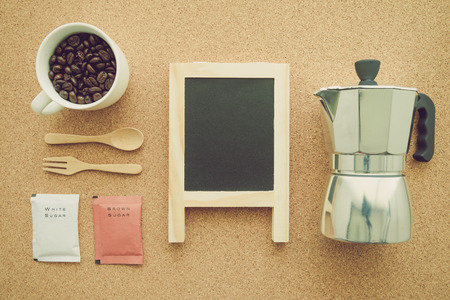 Above view of coffee setup - Retro filter effect Stock Photo