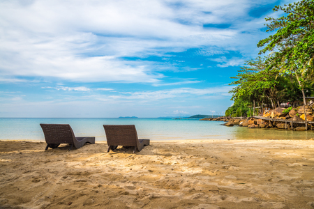 Daybed on beautiful tropical island beach - Koh Kood, Trat Thailand