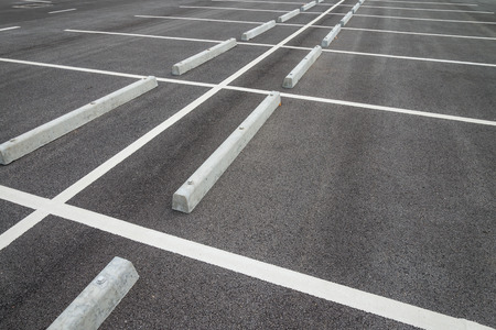 Empty space in outdoor asphalt parking lot Stock Photo