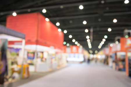 Abstract blurred people in exhibition show expo background usage Stock Photo