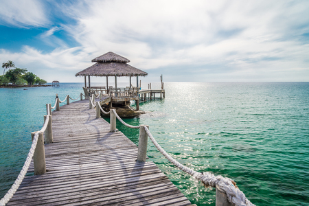 Long wooden bridge pavilion in beautiful tropical island beach - Koh Kood, Trat Thailand