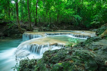 Beautiful Erawan tropical waterfall in Kanchanaburi province, Thailand