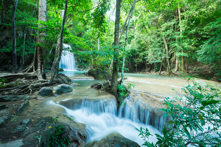 Beautiful Erawan tropical waterfall in Kanchanaburi province, Thailand
