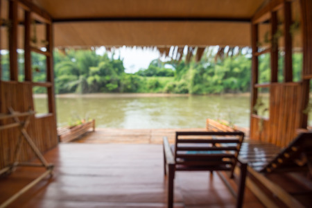 Abstract blur river Kwai jungle rafts Thailand, beautiful view from floating room background - travel vacation concept