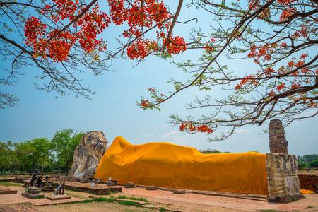 Big antique reclining buddha in Ayutthaya Thailand