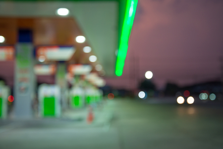 Abstract blur petrol gas station evening twilight background