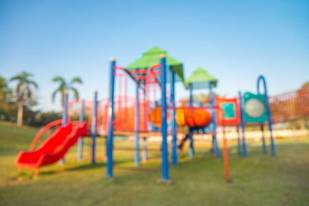 Abstract blur children playground in city park background Stock Photo