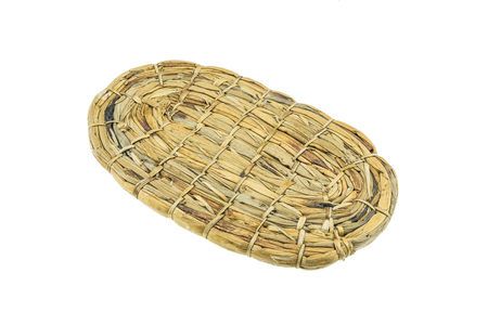 Hangmade woven dry water hyacinth tray on white background