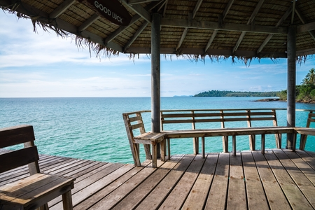 Wooden pavilion on beautiful tropical island beach - Koh Kood, Trat Thailand