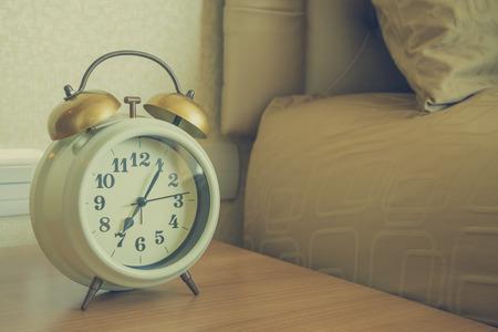 Alarm clock in bedroom - Vintage filter effect