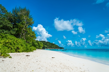 Sea beach blue sky and white sand in Koh Tachai island Thailand 版權商用圖片