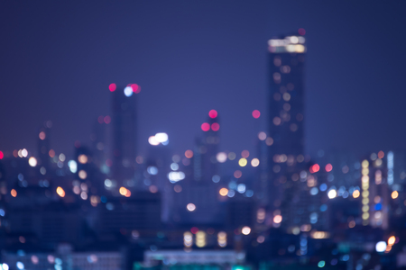 Abstract urban downtown night light bokeh , defocused background Archivio Fotografico