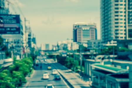 Defocused traffic cityscape in Bangkok Thailand background - Color tone effect Standard-Bild - 102836778