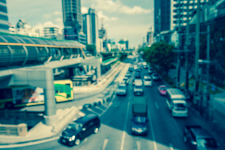 Defocused traffic cityscape in Bangkok Thailand background - Color tone effect Standard-Bild - 102836798