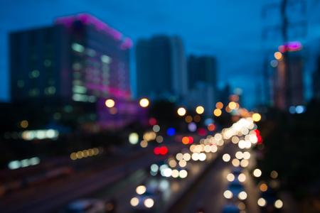 The evening twilight traffic in Bangkok city lights motion blur Standard-Bild - 102837377