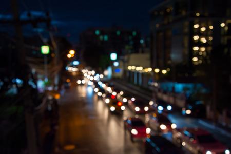 The evening twilight traffic in Bangkok city lights motion blur Standard-Bild - 102837382