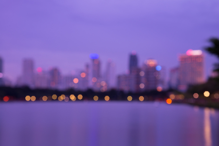 Abstract big park in Bangkok cityscape twilight, defocused background Standard-Bild - 102837403