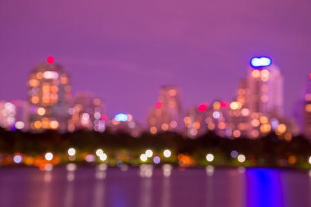 Abstract big park in Bangkok cityscape twilight, defocused background Standard-Bild - 102837407