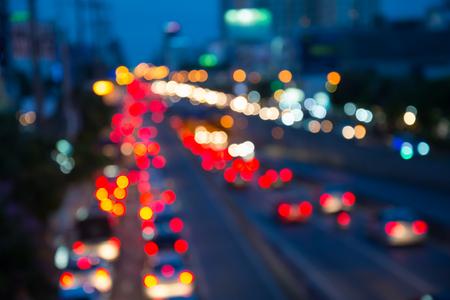The evening twilight traffic in Bangkok city lights motion blur Standard-Bild - 102837474