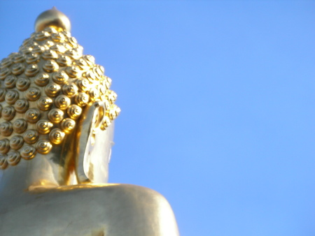 ancient relics: behind Buddha relic with blue sky Stock Photo