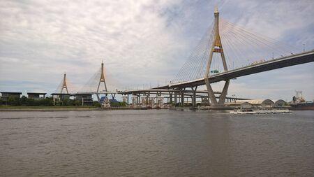 chao: Bhumibol Bridge over Chao Phraya river