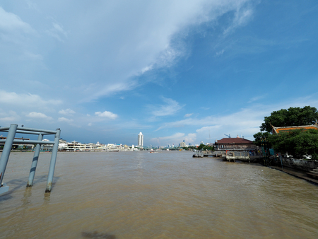 The Memorial Bridge is a bascule bridge over the Chao Phraya River in Bangkok see from Wat Kalayanamit portr
