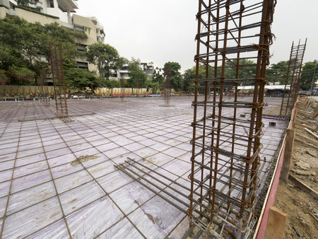 steel frame for construction building in construction area Stock Photo