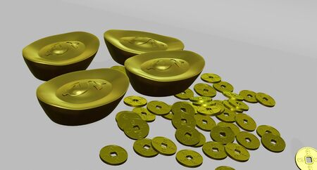 3D rendering gold bar and gold coin in chinese style has dollar sign